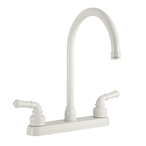 Replacement Faucet for Recreational Vehicles Camper J-Spout for RV 5th Wheel Motorhomes Kitchen Faucet White Trailer by Dura Faucet