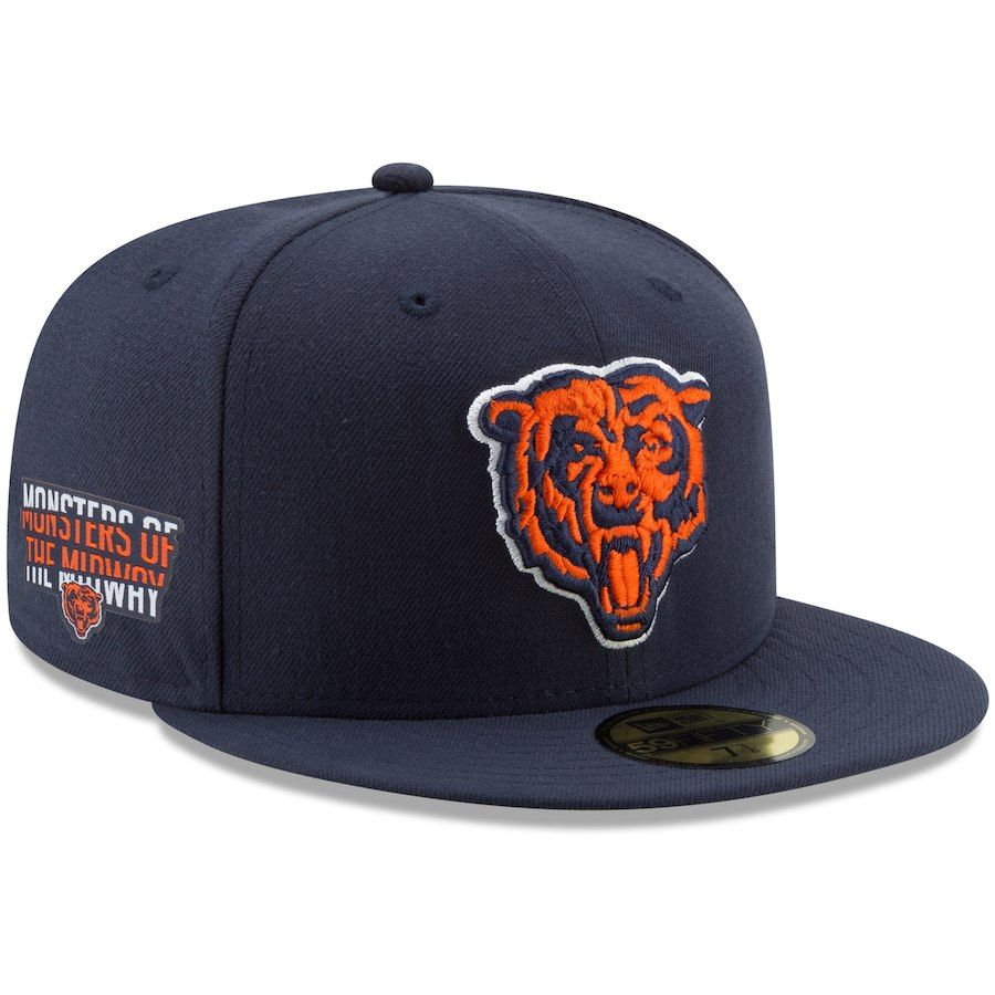 6551b842fd8 Men s Chicago Bears New Era Navy Secondary Logo Team Slogan Basic 59FIFTY  Fitted Hat