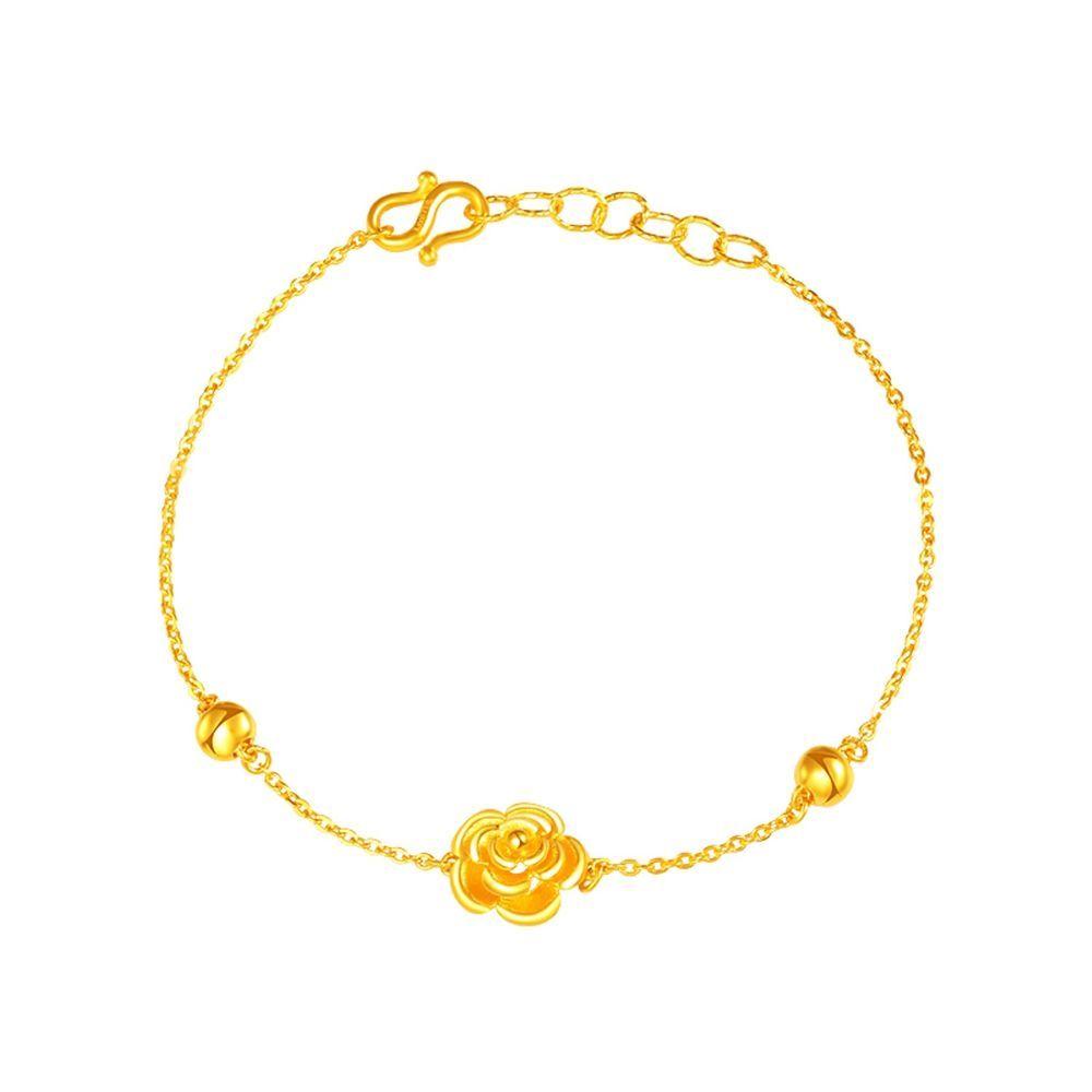 Pure k yellow gold women d bead flower o link chain bracelet