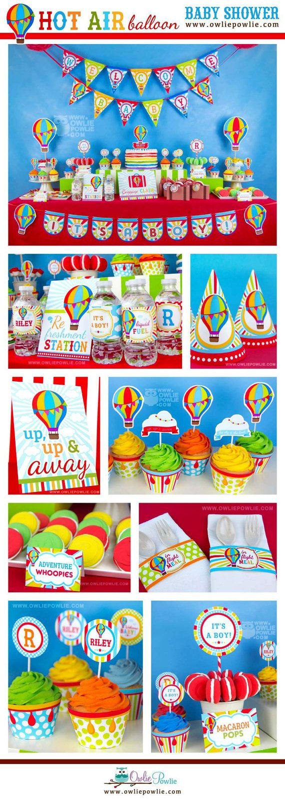Hot Air Balloon BABY Shower Party Printable Package & Invitation, INSTANT DOWNLOAD, You Edit Yourself with Adobe Reader