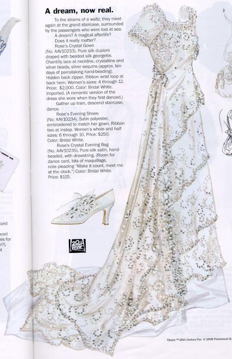1998 J Peterman Catalogs Titanic Roses Crystal Wedding Gown Evening Shoes Drawstring