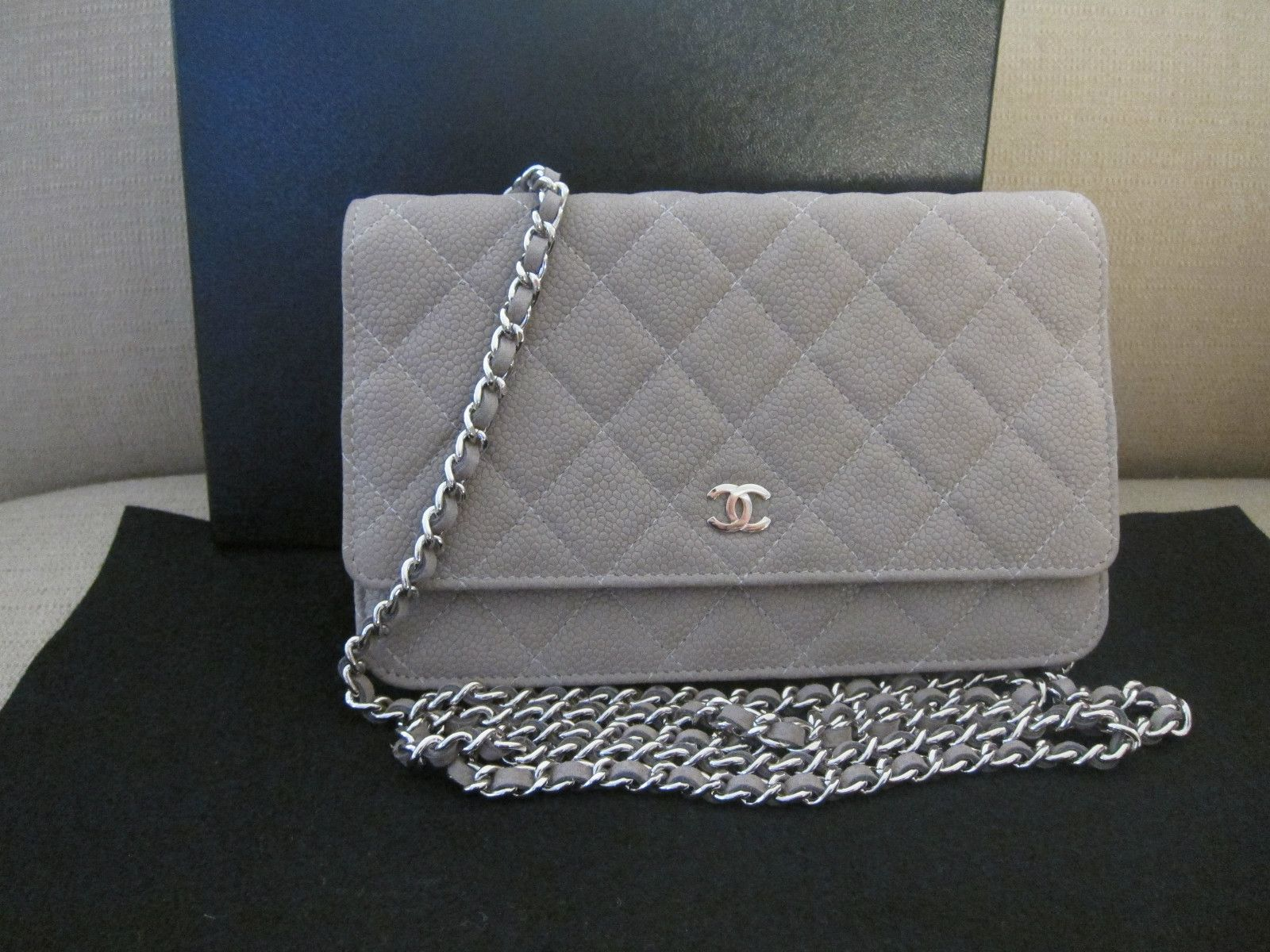 e1dbfd7ac5fc Check out Jiye's pretty Chanel Wallet on Chain Grey Suede Caviar Leather WOC  Bag - for sale on eBay