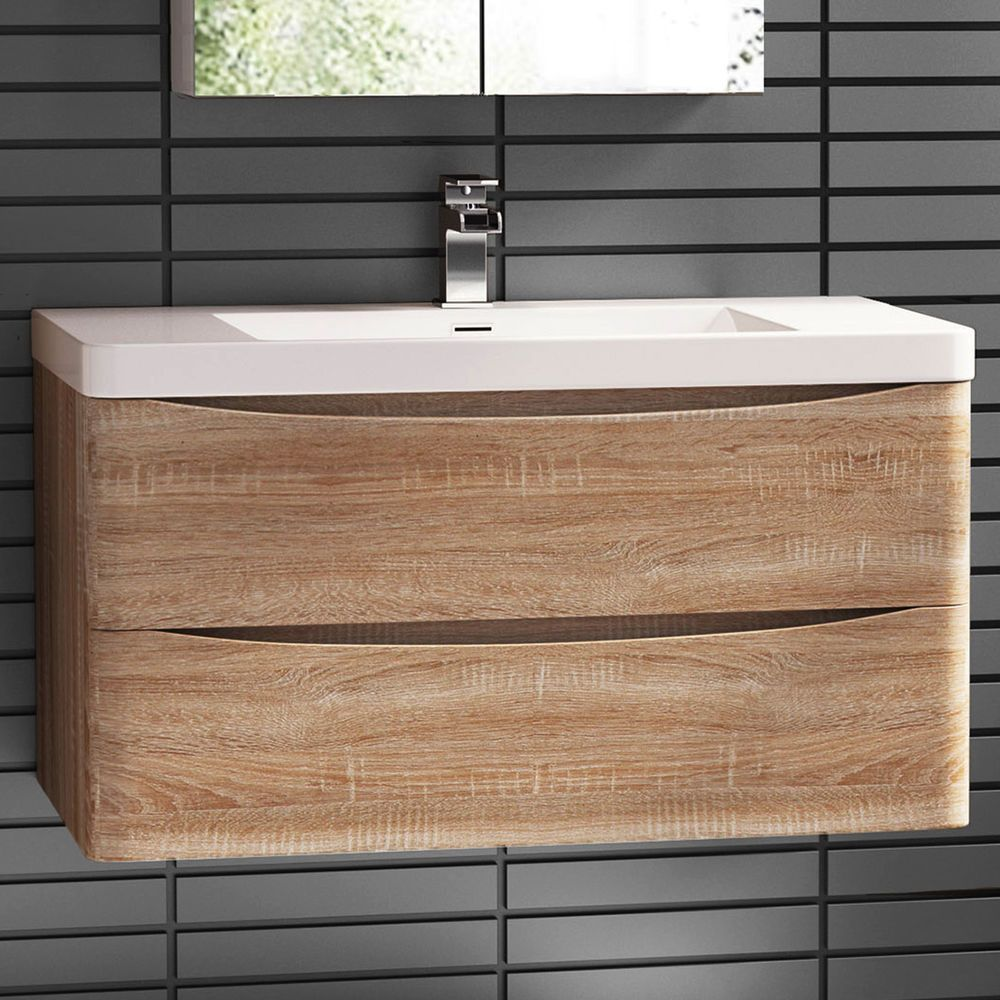 X 550mm Wall Mount Modern Oak Bathroom Vanity Unit Stone