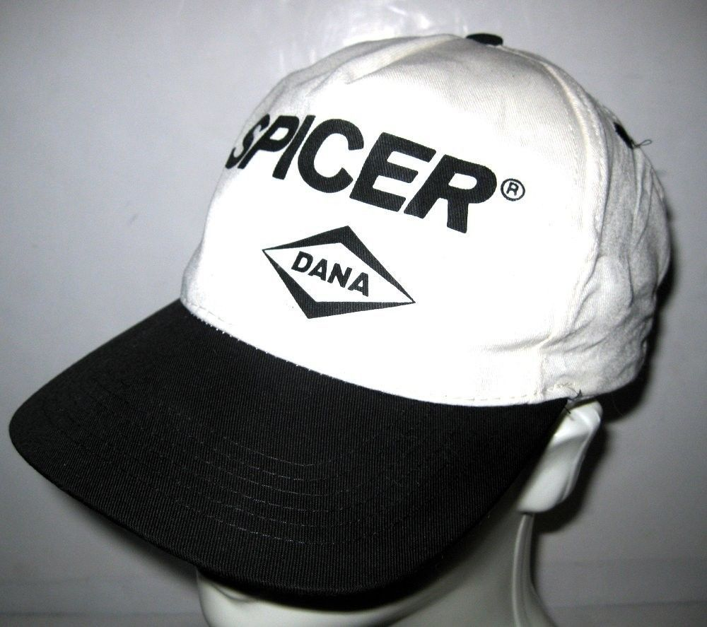 Vtg Dana Spicer Black   Off White One Size Fits All Baseball Cap Hat San Sun b45c56dfbd05