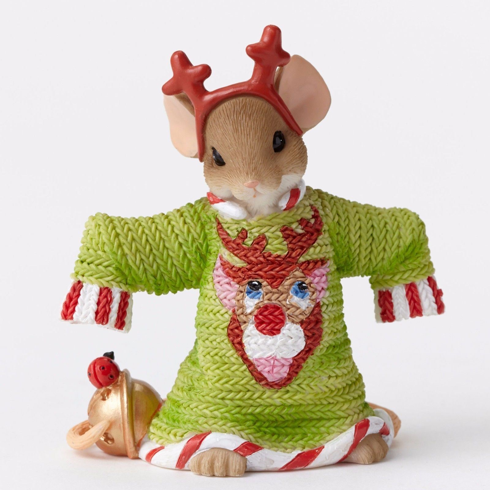 Charming Tails Such A Deer Ugly Green Sweater Mouse Figurine