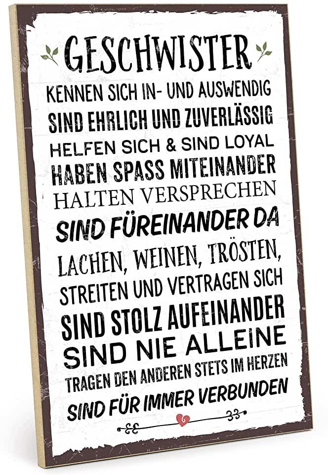 TypeStoff Holzschild mit Spruch – Geschwister – im Vintage Look mit Zitat als Geschenk und Dekor | findegut.de