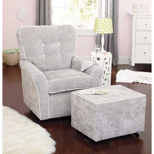 Kacy Collection Morgan Nursery Swivel Glider Crushed Silver
