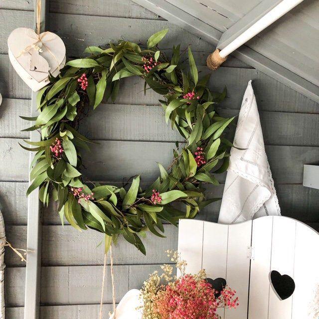 Photo of Country wreath, dried eucalyptus wreath, everyday wreath, spring wreath, door wreath, green wreath, all year round wreath, all year round wreath,