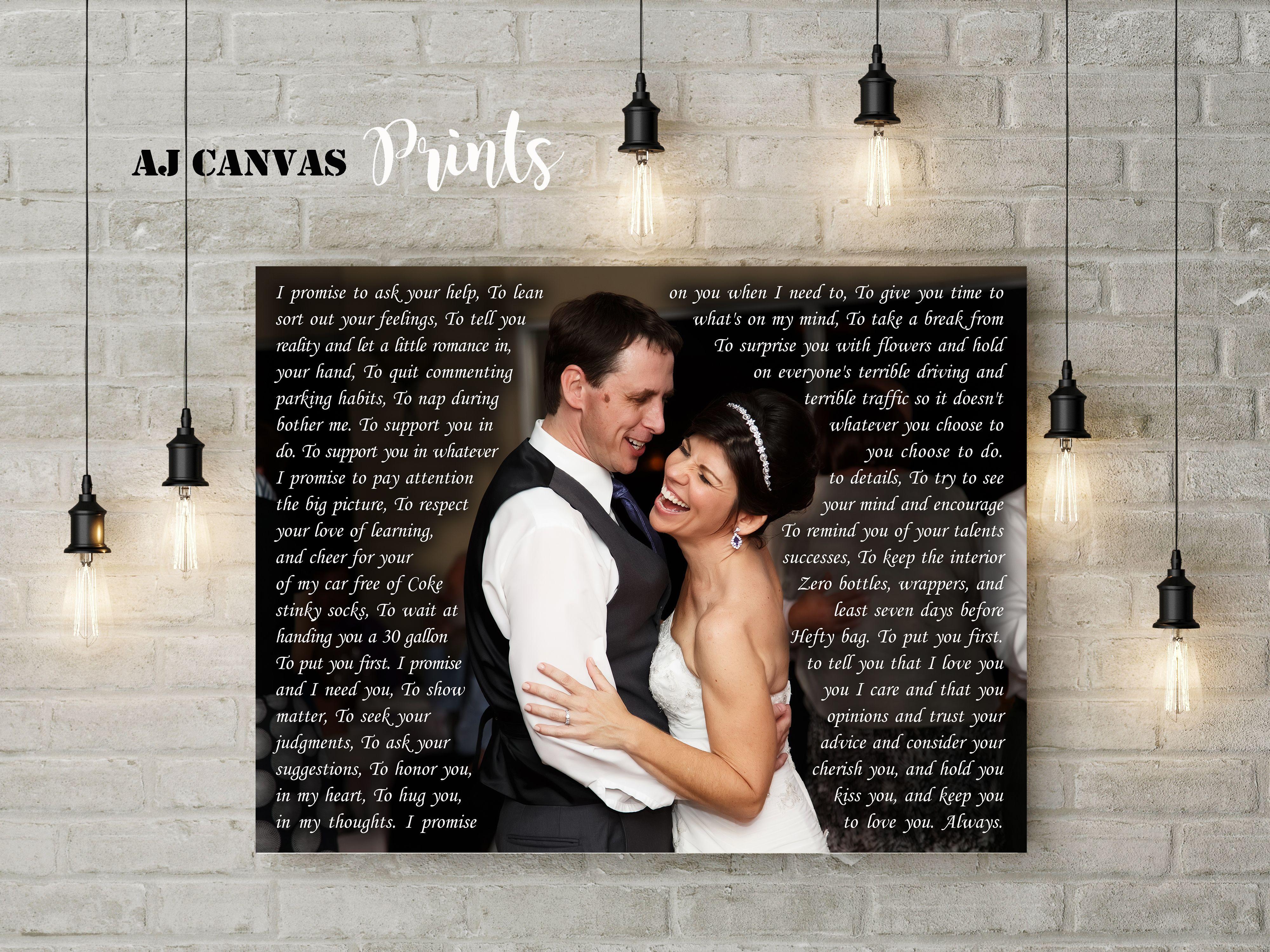 Custom Wedding First Dance Song Lyrics To Canvas
