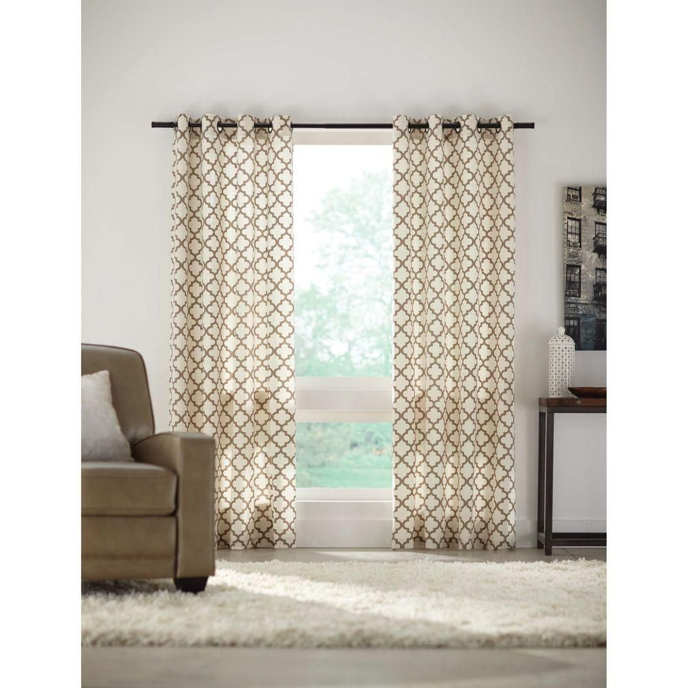 Home Decorators Collection Semi Opaque Sand (Brown) Lattice Luxe Flocked  Grommet Curtain   52 In. W X 84 In. L