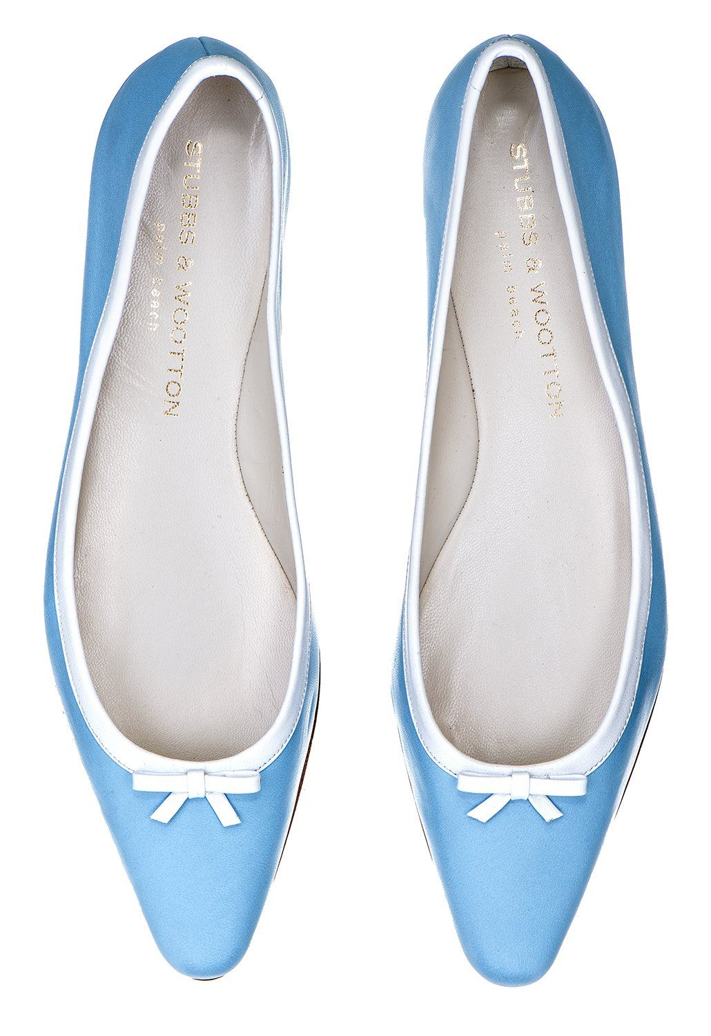 520390e933b29 Our Alicia Ballerina features a leather upper with white leather trim and  bow. - Meticulously