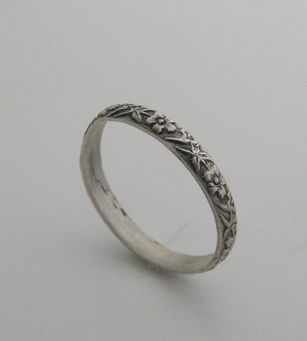 Vintage Wedding Bands Antique Art Nouveau Style Engraved Ring Band I Love This