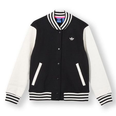 Adidas Originals Style Varsity Jacket Black White Varsity Jacket Women Adidas Outfit Adidas Fashion