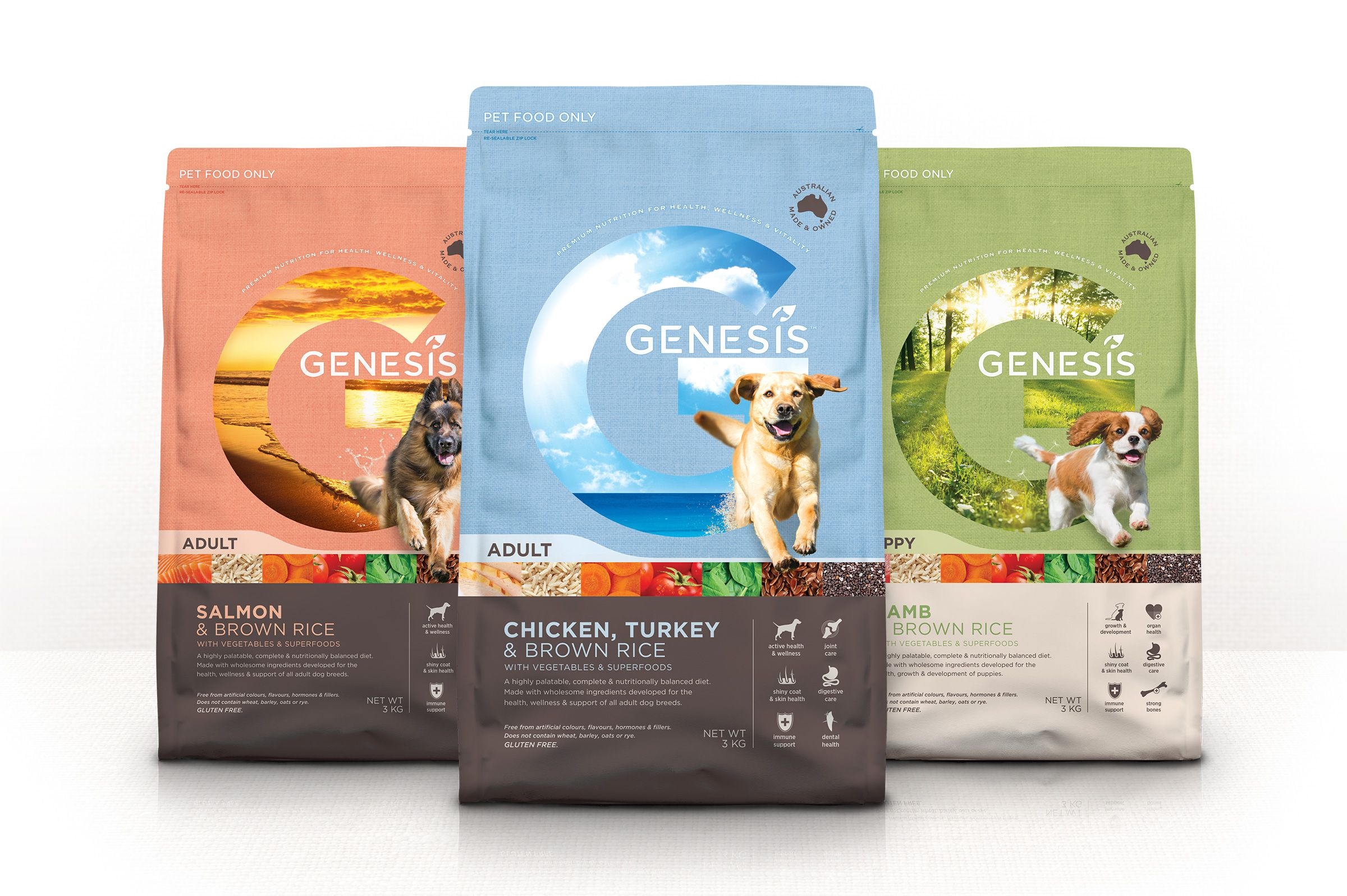 Genesis Premium Dog Food Brand Packaging Design Boxer Co