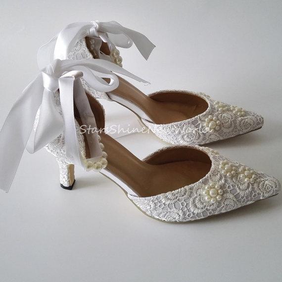 2017 Beading Pearls Satin Lace Up Women Wedding Shoes White Ivory ... 5c034f31c6