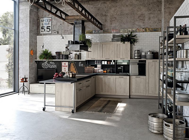 ... Small kitchen with an industrial chic style [Design: British Standard]