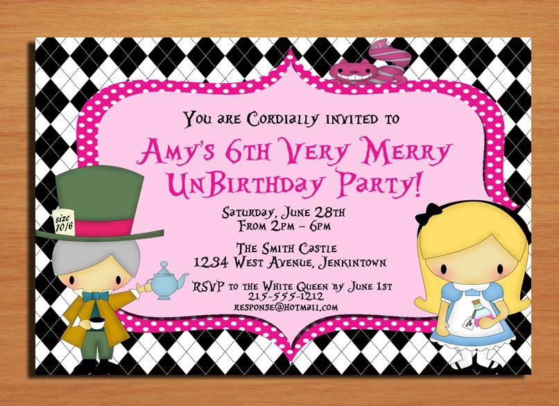 Alice In Wonderland Very Merry Unbirthday Party Invitation Cards