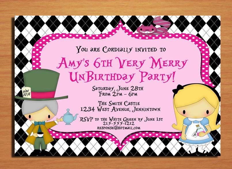 Alice in Wonderland Very Merry UnBirthday Party Invitation Cards – Unbirthday Party Invitations