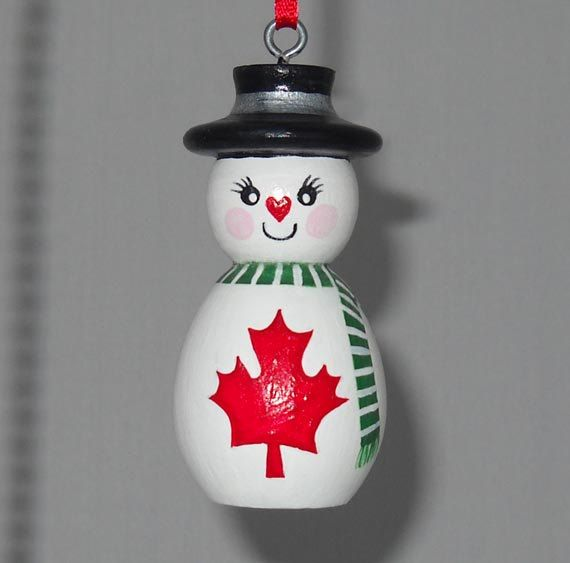 Canada Ornament, Christmas Decoration, Snowman with ...