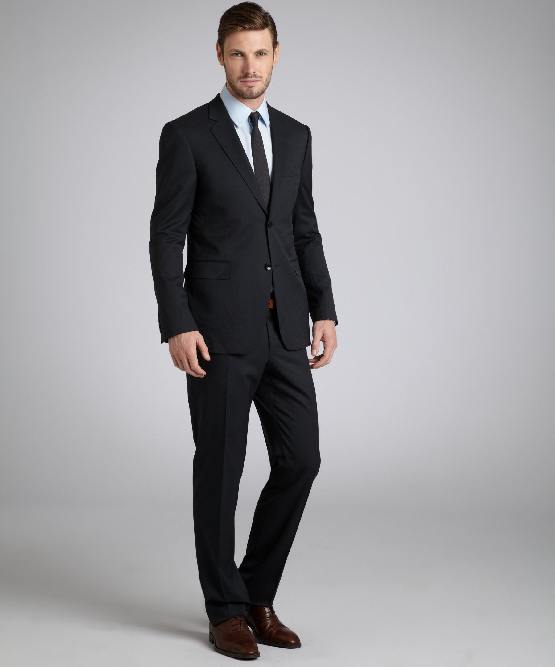 0cceb4d2a Gucci black wool two-button suit with flat front pants | BLUEFLY up to 70%  off designer brands