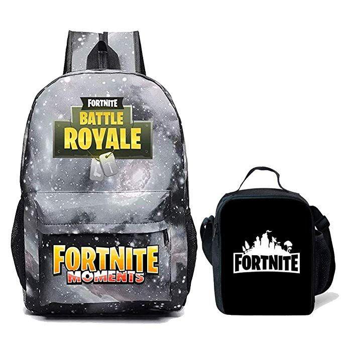Kids Fortnite Backpack + Lunch Box School Bookbag School Travel Galaxy Black dbcc462c14e39