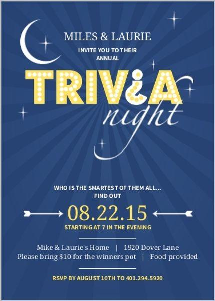 Navy Skyline Trivia Question Mark Game Night Invitation | Invitation ...