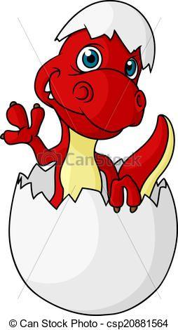 Clip Art Vector Of Cute Little Dinosaur Hatching From An Egg