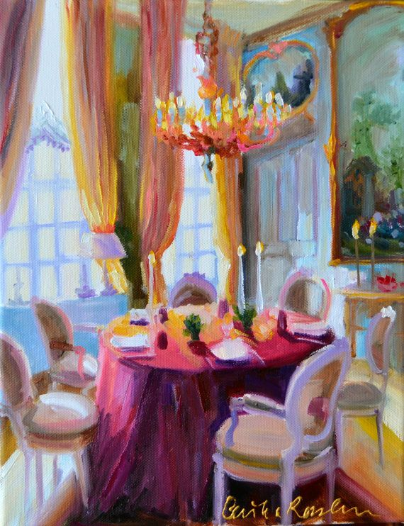 Art Print Of An Original Painting Interior CHATEAU DINING