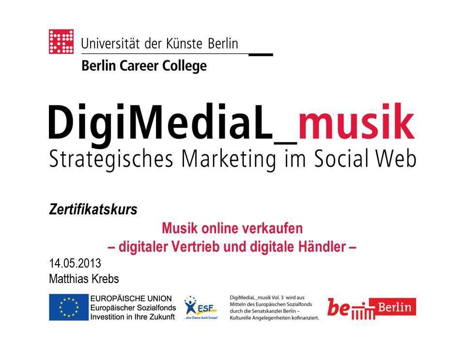 Do it yourself Musikvertrieb - Wie können Musiker heute im digitalen Markt ihre Musik verkaufen? Im Zertifikatskurs stellte Matthias Krebs digitale Vertriebsplattformen wie CDBaby, TuneCore oder Amazon vor. http://www.digimedial.de/zertifikatskurs