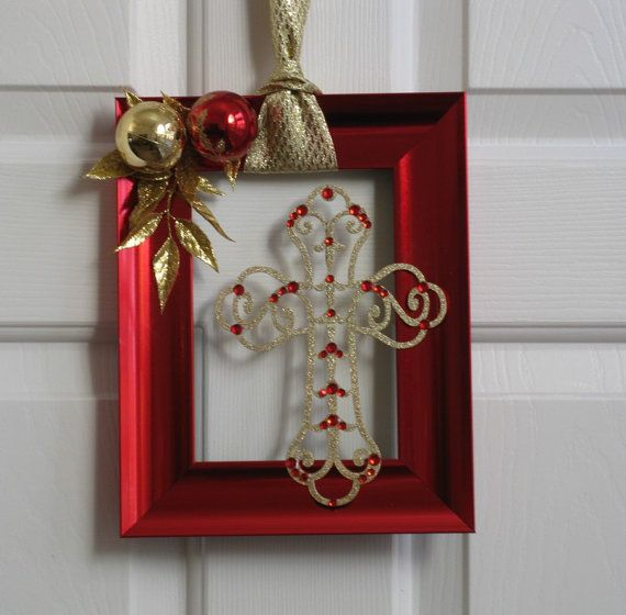 Love The Red Paint On The Frame And The Ornaments Glued To