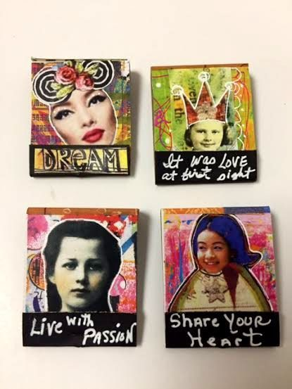 Set of FOUR Mixed Media Art MATCHBOOKS, Collage, Book Matches, Art Gifts by IMGirl on Etsy