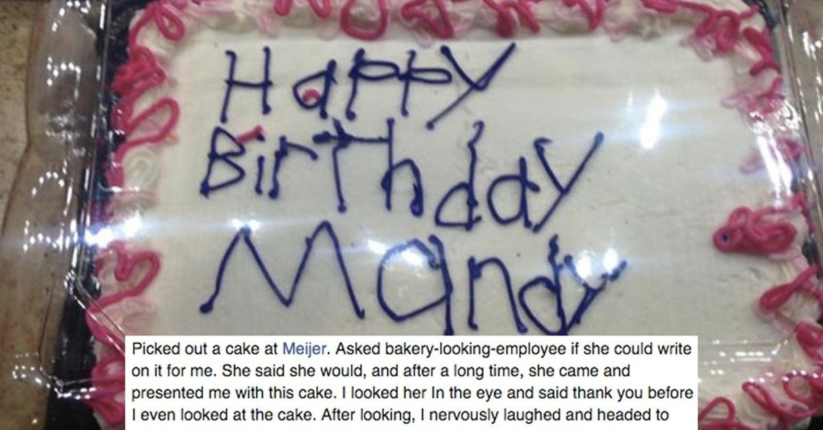 A woman asked a bakery employee to decorateher cake and