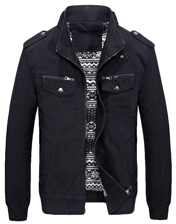 c2750111e9e Men s Casual Fit Stand Collar Cotton Jacket With Shoulder Straps - Black -  CP189H4QUEK