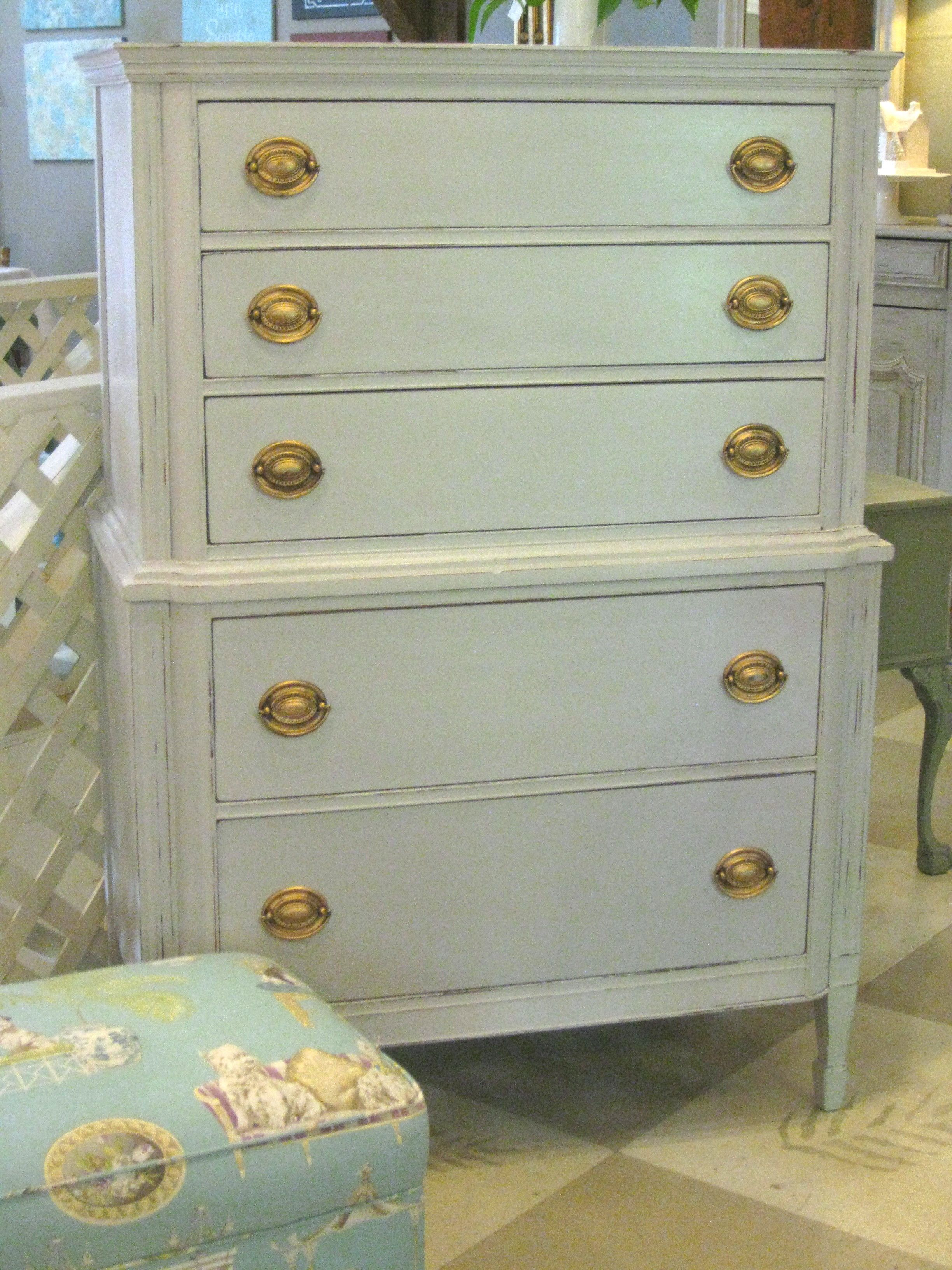 Vintage Chest on Chest painted with a custom mix of Chalk Paint® by Annie Sloan.