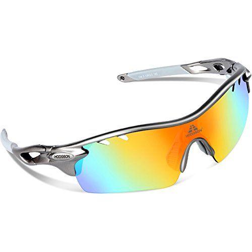 2db2d24ccc9 HODGSON Polarized Sports Sunglasses with 5 Interchangeable Lenses for Men  Women Cycling Baseball Running Glasses