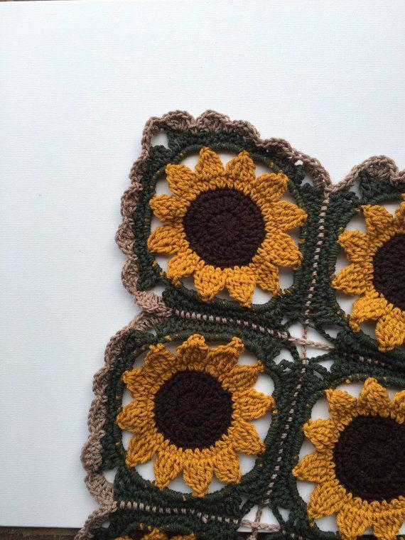 Handmade Granny Square Sunflower Afghan dorm room decor, graduation ...