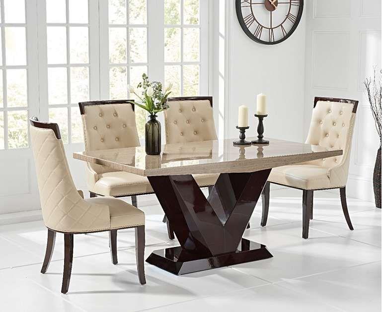 Verbier 160cm Brown V Pedestal Marble Dining Table With Angelica Chairs Dining Table Marble Marble Dining Marble Top Dining Table