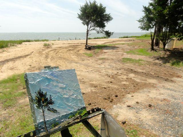 My painting in the landscape, Burton's Shore, near Wachapreague, VA