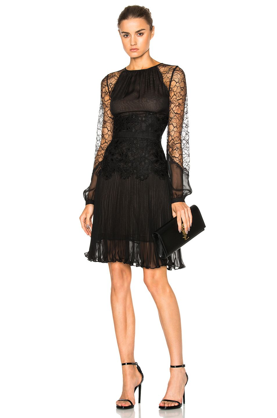 Oscar De La Renta Lace Dress In Black Fwrd Vestido De