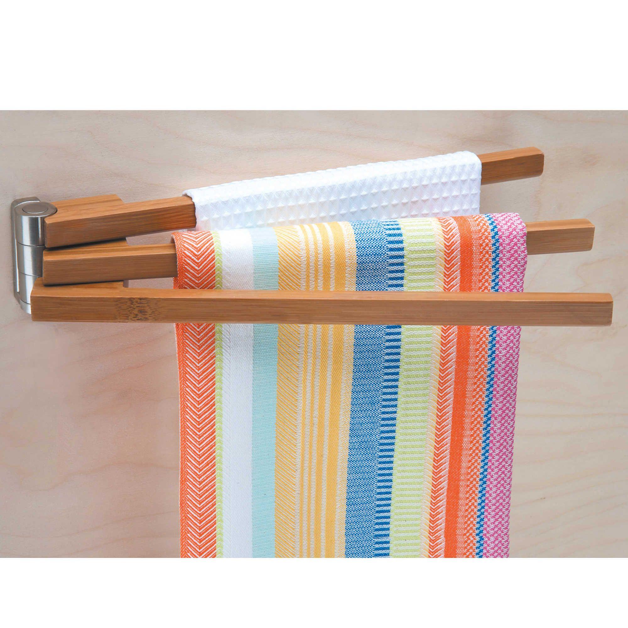 Wall Mounted Bamboo 3 Arm Towel Bar Kitchen Towel Rack Bamboo Towels Tea Towel Display