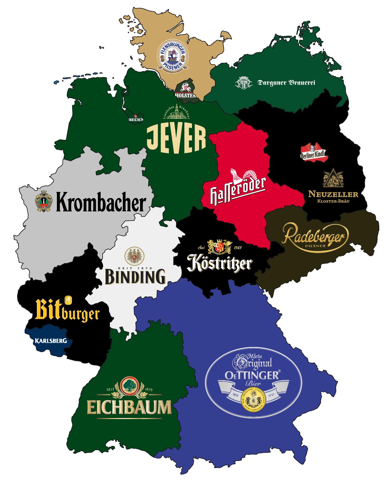 Bierrepublik Deutschland eine Karte mit dem bekanntesten