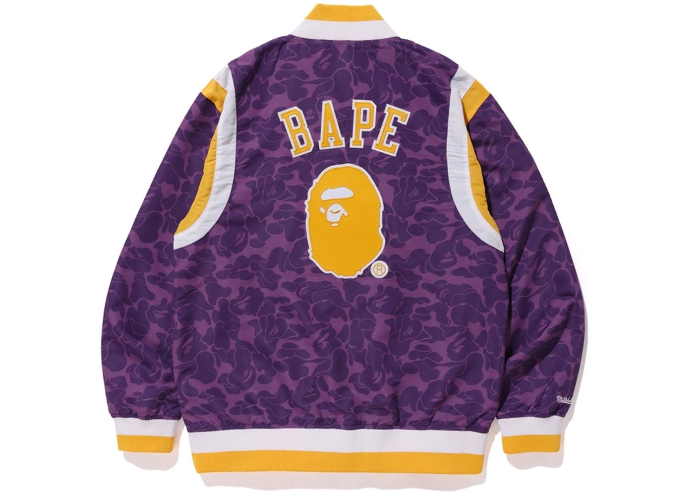 BAPE X Mitchell & Ness Lakers Warm Up Jacket Purple