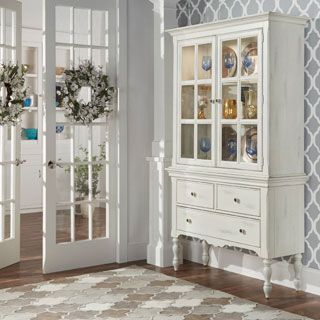 Elegant TRIBECCA HOME McKay Country Antique White Display Buffet Storage China  Cabinet