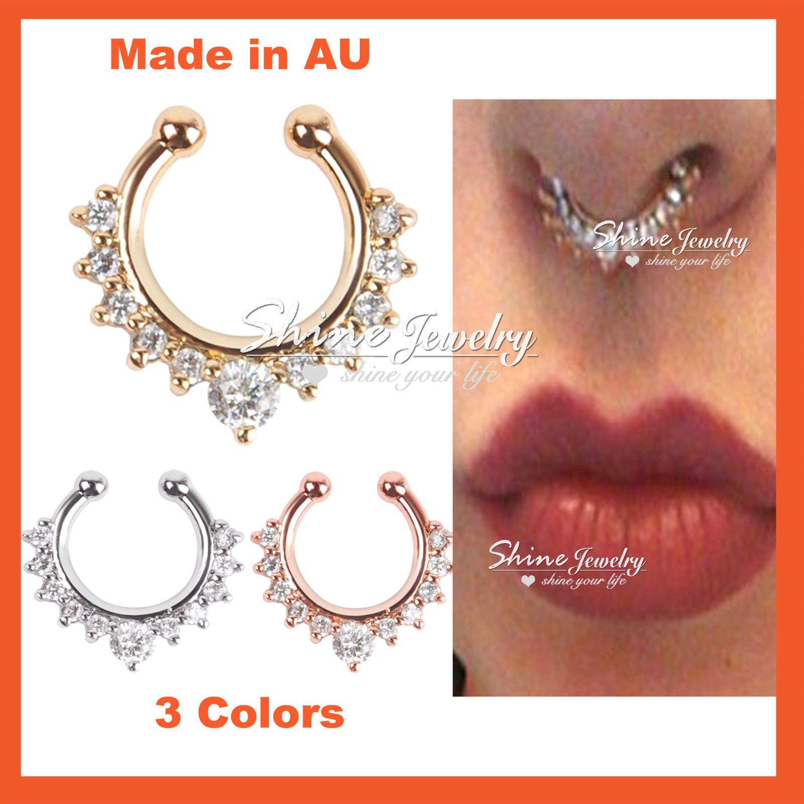 3 99aud Diamond Gem Fake Clip On Septum Clicker Nose Hanger Ring