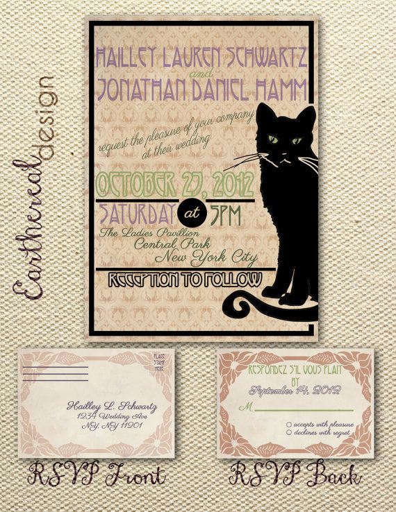 French Art Nouveau Cat Wedding Invitation By Eartherealdesign