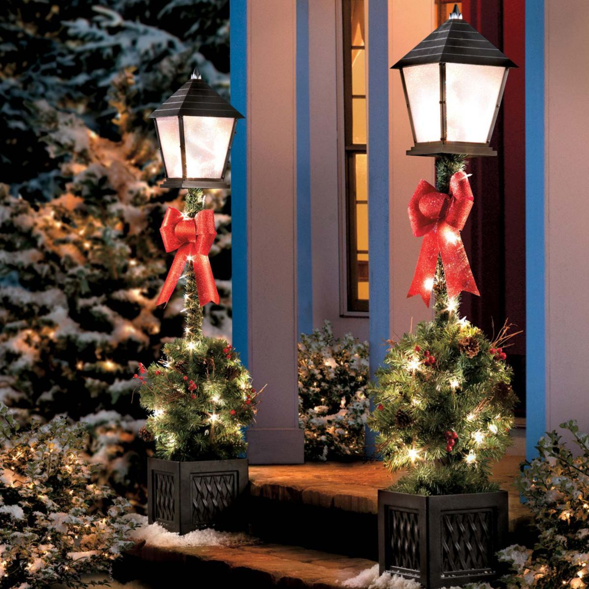 Outdoor Lamp Decoration: 4 Ft Pre-Lit Lamp Post With Greenery