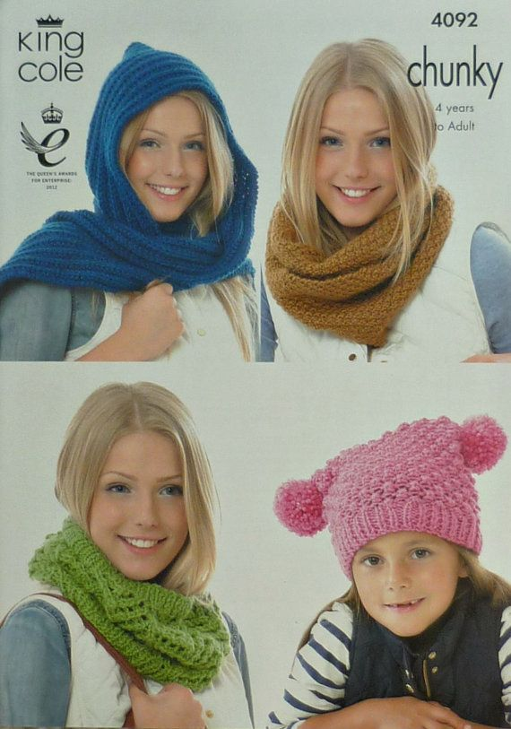 Womens Knitting Pattern K4092 Ladies Childrens Hat Scarf And Cowls