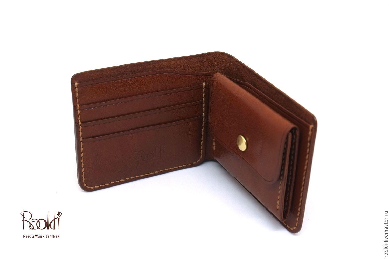 2db0d60e142a Купить Портмоне из кожи с монетницей, кошелёк кожаный мужской / женский -  коричневый, однотонный