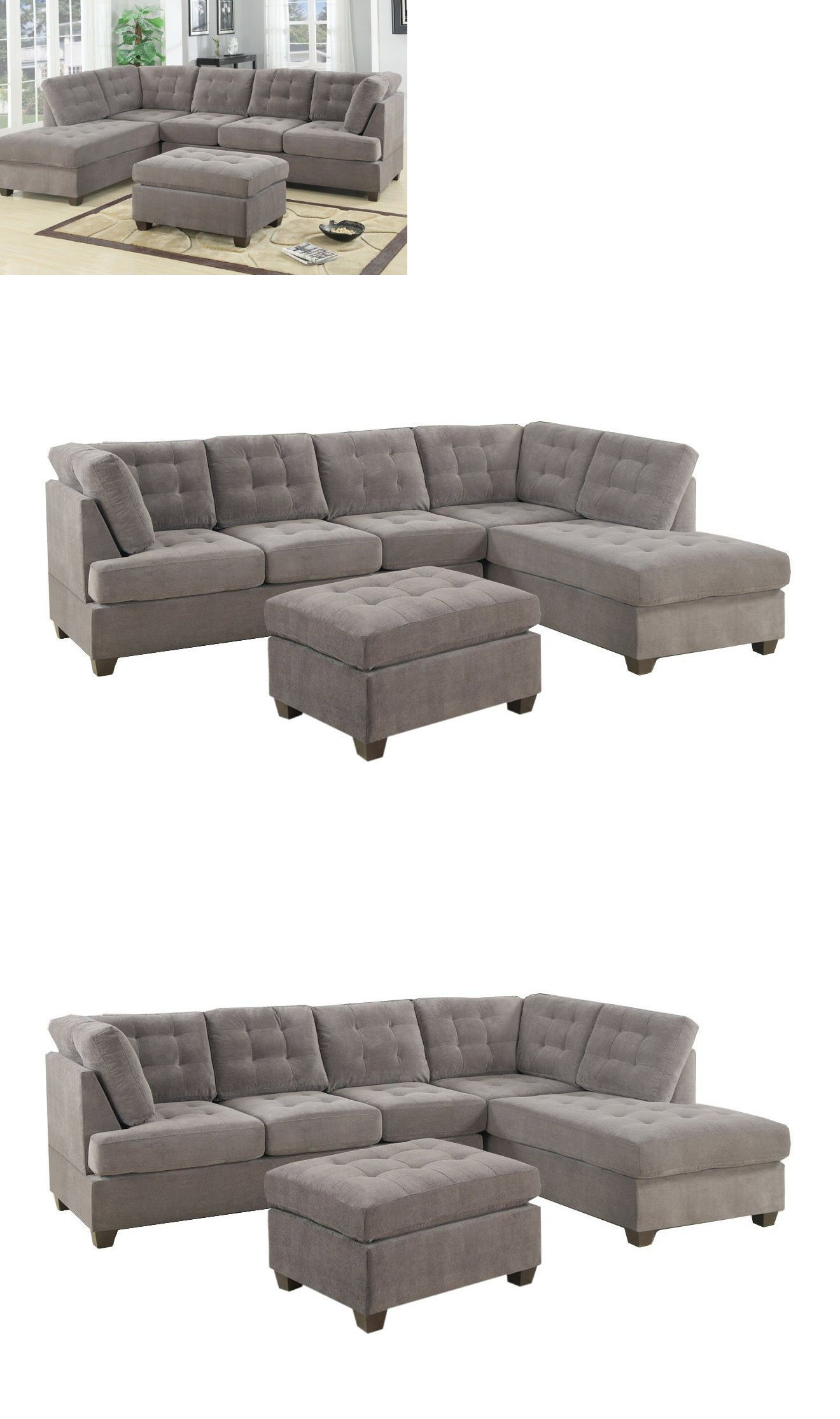Sofas Loveseats and Chaises Contemporary 3Pc Grey Sectional
