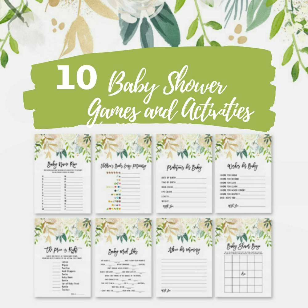 Details about baby shower Printable pack White Gold